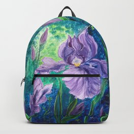 Blooming Purple Iris in magic forest Backpack