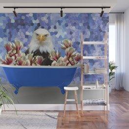 Eagle - Blue Bathtub Magnolia Flowes #society6 #eagle Wall Mural
