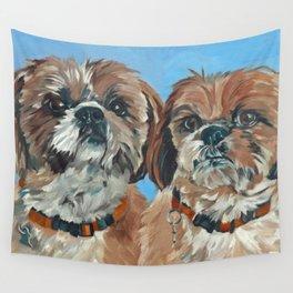Shih Tzu Buddies Dog Portrait Wall Tapestry