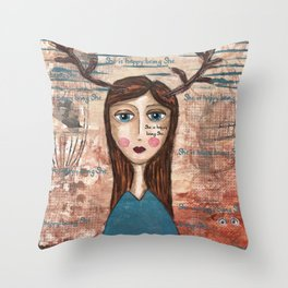 Coco's Closet- She is happy being She Throw Pillow
