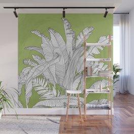 Banana Leaves Illustration - Green Wall Mural