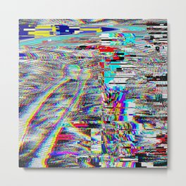 Glitch effect psychedelic illustration Metal Print