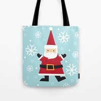 santa Tote Bags featuring Santa by Claire Lordon