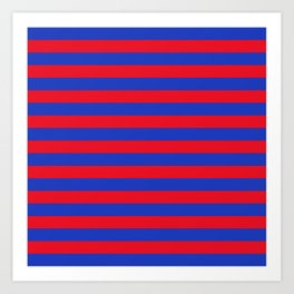 Blue and Red Stripes Art Print