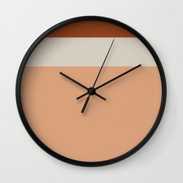 Minimalist Color Block Triple Stripe in Apricot, Rust, and Taupe Wall Clock