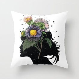 Flower pot head galaxy Throw Pillow