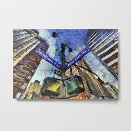 New York Street Sign Van Gogh Metal Print