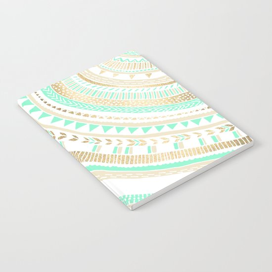 Mint + Gold Tribal Notebook