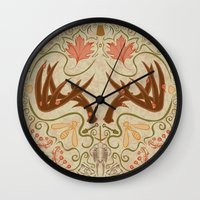 wisconsin Wall Clocks featuring Wisconsin Pattern by Kayla Catherine Illustration