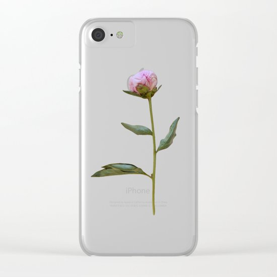 Peonies on Black Clear iPhone Case
