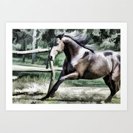 Horse in pasture Art Print