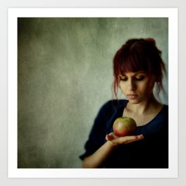 the girl with the apple Art Print