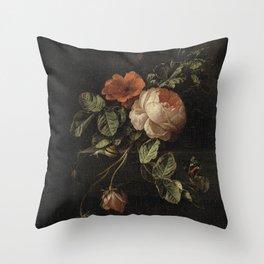 Botanical Rose And Snail Throw Pillow
