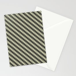 Cream Yellow and Black Diagonal LTR Var Size Stripes Stationery Cards