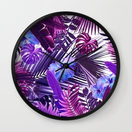 Tropical Hibiscus Flower Jungle Pattern #2 #tropical #decor #art #society6 Wall Clock