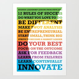Lab No. 4 - Business Leadership Lessons From Steve Jobs Quotes Poster Art Print