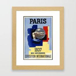 Paris 1937 02 - Vintage Poster Framed Art Print