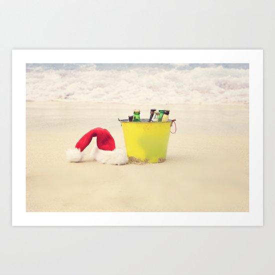 Santa Hat and Beach Beverage Art Print