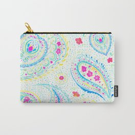 Watercolor Paisley Aqua Carry-All Pouch