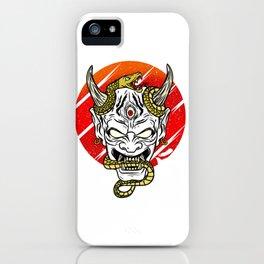 Japanese Devil Art Mask Demon Oni Harajuku T-Shirt iPhone Case