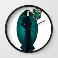 snape Wall Clocks featuring Severus Snape by Zeynep Aktaş