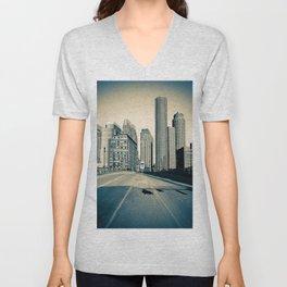 Downtown Blue Unisex V-Neck