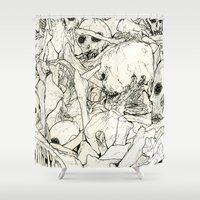 bones Shower Curtains featuring Bones by Jess Worby