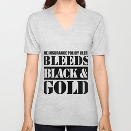 This Insurance Policy Clerk Bleeds Black & Gold Unisex V-Neck