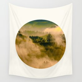 Mid Century Modern Round Circle Photo Graphic Design Foggy Green Country Landscape Wall Tapestry