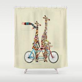 giraffe days lets tandem Shower Curtain