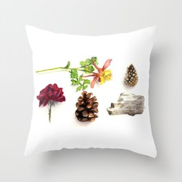 Flowers, Pinecones, and Driftwood Flatlay Throw Pillow