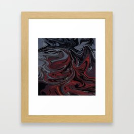 Grey & Red Abstract Painting Framed Art Print