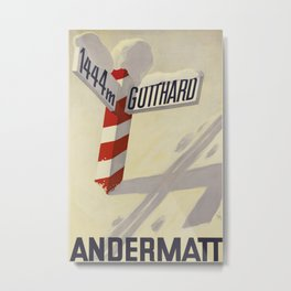 Andermatt Vintage Travel Poster Metal Print