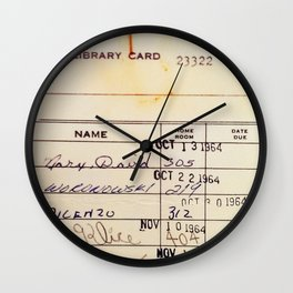 Library Card 23322 Wall Clock