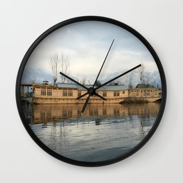 Houseboat on Dal Lake Wall Clock