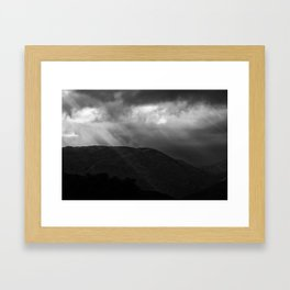Rays in the mountains in B&W Framed Art Print