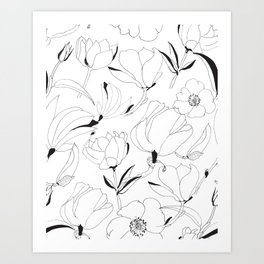 Black and white ink hand drawn  magnolia flowers pattern Art Print