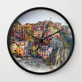 Cinque Terre Watercolor Style Print, Digital, Manarola Print, Italy Wall Decor Wall Clock