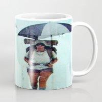 hiking Mugs featuring Rain Hiking by Fallon Chase