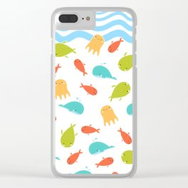 Cute Sea Life, Colorful Fishes and Waves Design Pattern, Cute Kids Art Clear iPhone Case