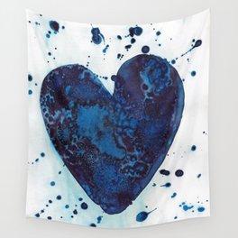 Splattered blue heart Wall Tapestry