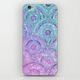 Aqua Blue Purple and Pink Sparkling Glitter Circles iPhone Skin