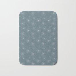 Blue Succulent Rosettes Organic Pattern - Floral Line Drawing Bath Mat