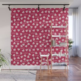 Seamless white hearts retro Valentines day red pattern romantic vintage Wall Mural