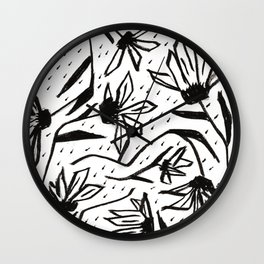Black and White Echinacea Wildflower Drawing Wall Clock