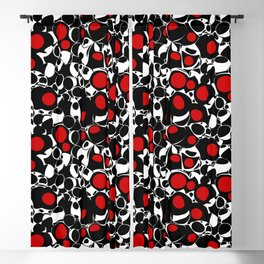 Abstract Olives in Red, Black and White Blackout Curtain