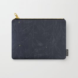 Midnight Botanical Pattern with Gold Lights Carry-All Pouch