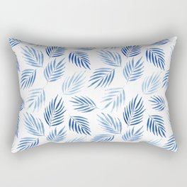 Tropical areca palms pattern in blue Rectangular Pillow