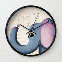 baby elephant Wall Clocks featuring Baby Elephant by David Owen Breeding