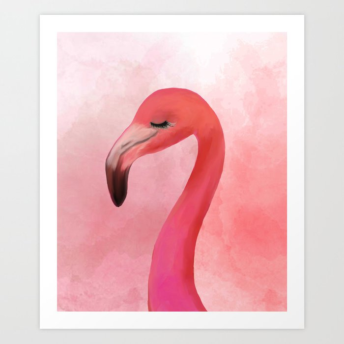 Lashy Flamingo by Katrina Ward Art Print